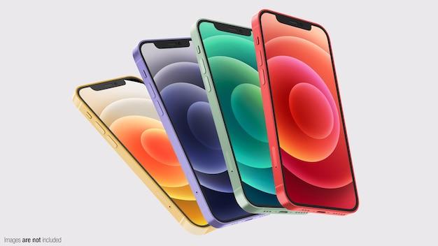 Coleção de telefones coloridos flutuantes