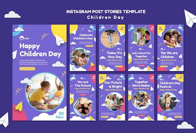 Coleção divertida de histórias coloridas do dia das crianças