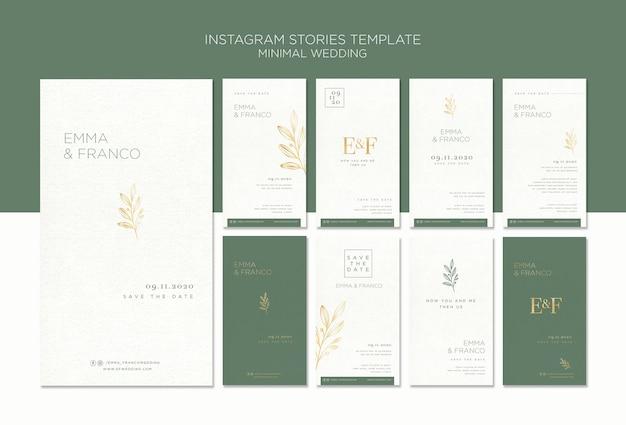 Coleção elegante de histórias do instagram para casamento