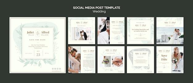 Coleção elegante de postagem no instagram para casamento