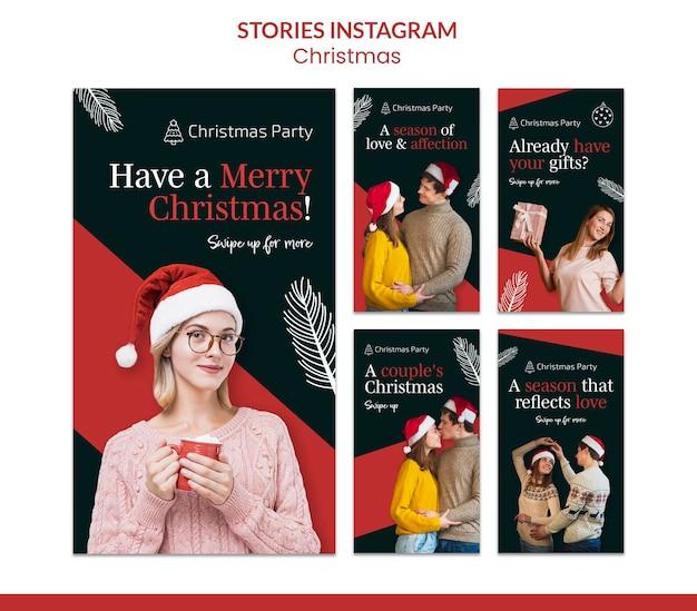 Coleção festiva de histórias de instagram de natal