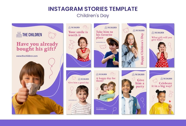 Coleção fofa de histórias de mídia social para o dia das crianças