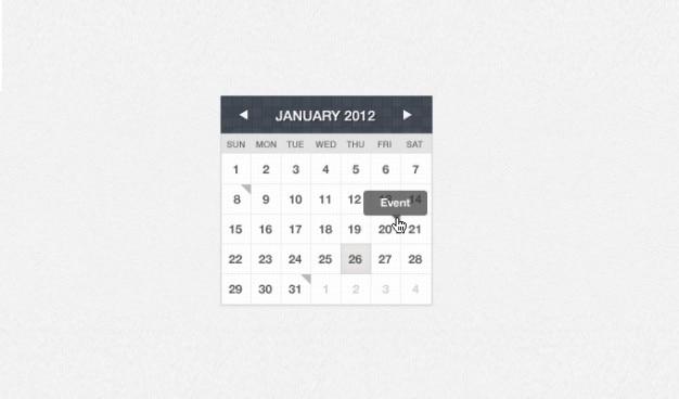 Coleção interface de calendário em diferentes cores
