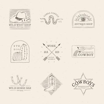 Coleção psd de logotipo com tema de caubói