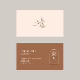 Coleção psd de modelo de cartão de nome de moda