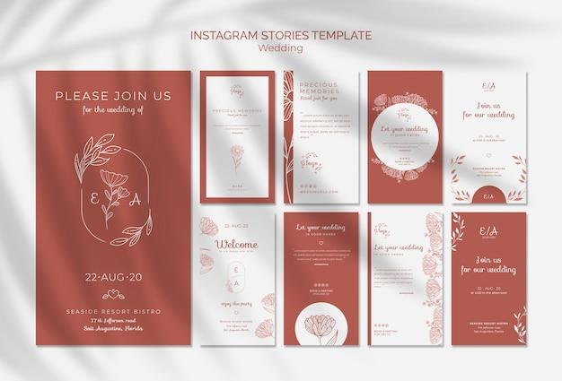 Coleção simples e elegante de histórias do instagram para casamento