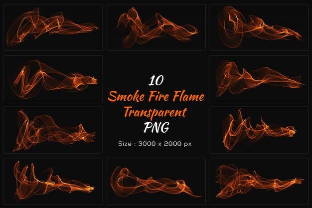 Coleção transparente de chama de fogo de fumaça