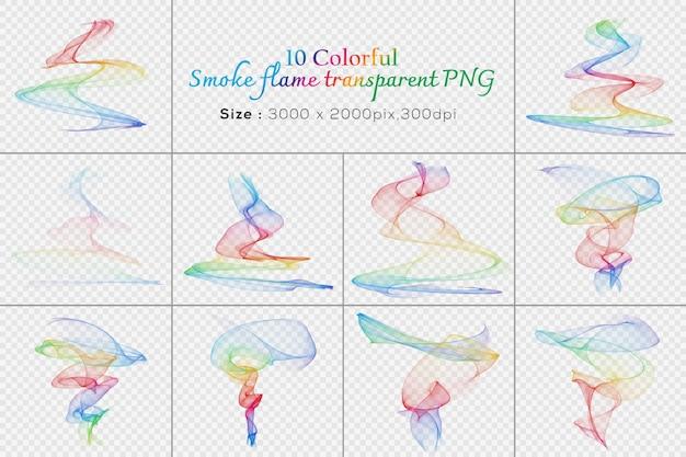 Coleção transparente de chama de fumaça colorida