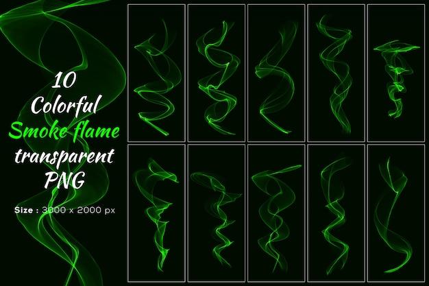Coleção transparente de chama de fumaça de cor verde