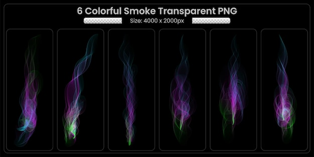 Coleção transparente de chamas de fogo de fumaça colorida em fundo preto
