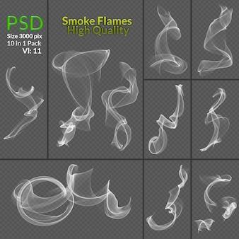 Coleção transparente de fumo isolado fundo transparente