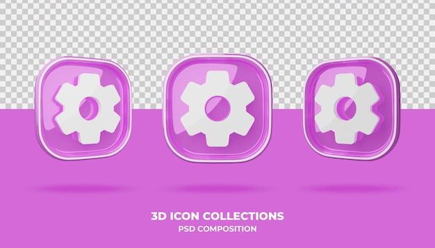 Coleções de ícones 3d no emblema rosa
