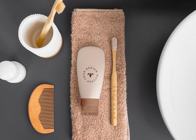 Colocação plana do arranjo de eco cosméticos