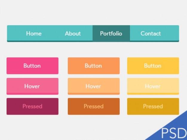 Coloridos botões ui plana psd