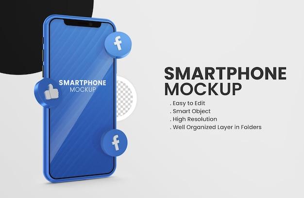 Com maquete de smartphone do ícone do snapchat 3d render