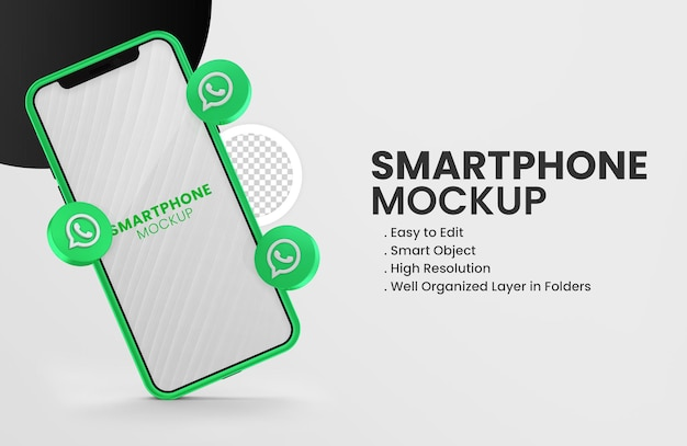 Com o ícone do whatsapp de renderização 3d na maquete verde do smartphone