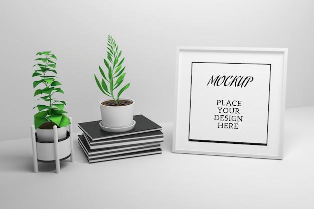 Com uma moldura, pilha de revistas e vasos de plantas