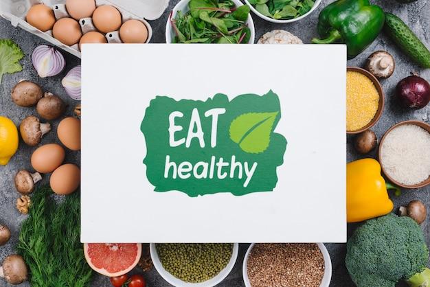 Coma maquete de comida vegana saudável