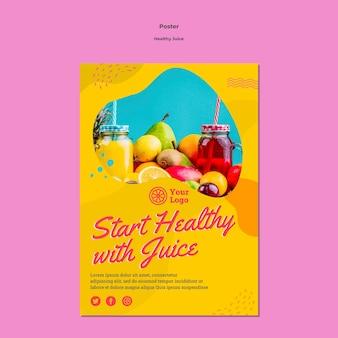 Comece saudável com modelo de pôster de suco