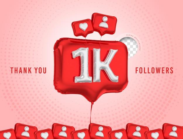 Comemoração em balão de 1 mil seguidores, obrigado, mídia social 3d render