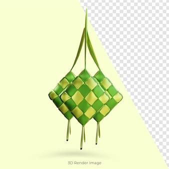 Comemoração tradicional do ketupat de comida islâmica eid mubarak