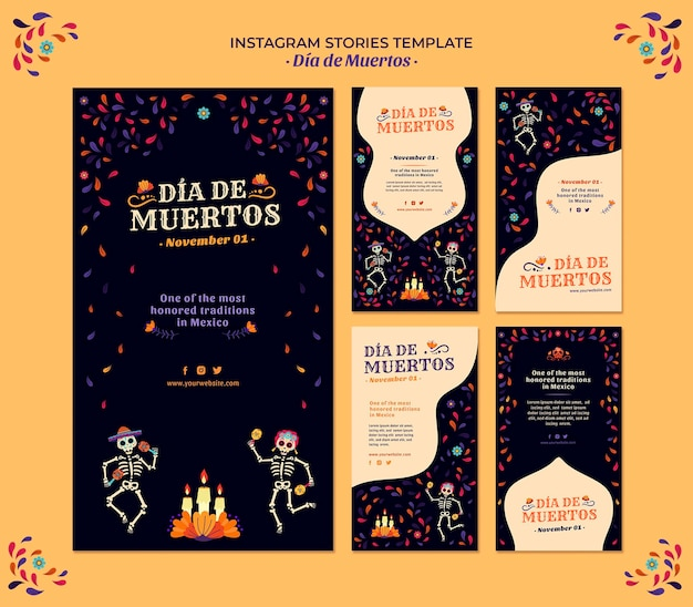 Comemore o dia dos mortos, histórias do instagram da cultura do méxico