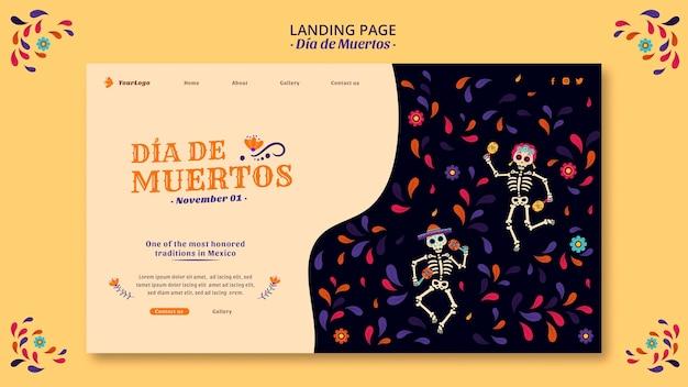 Comemore o dia dos mortos na página de destino da cultura do méxico
