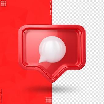 Comentário frontal do ícone do instagram em renderização 3d