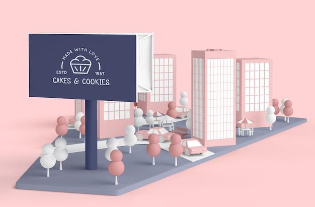 Comercial exterior com loja de bolos