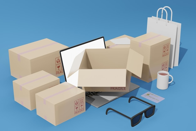 Comércio eletrônico de compras online com maquete de laptop e caixas em renderização 3d