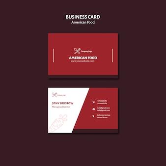 Comida americana de design de cartão de visita