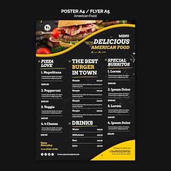 Comida americana de design de menu