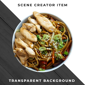 Comida asiática no prato transparente psd