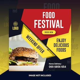 Comida de restaurante instagram post, banner quadrado