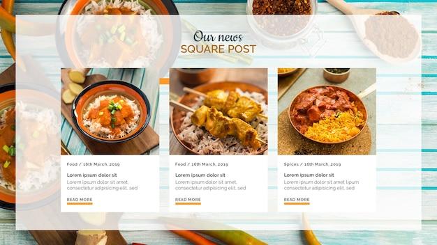Comida indiana quadrado post modelo