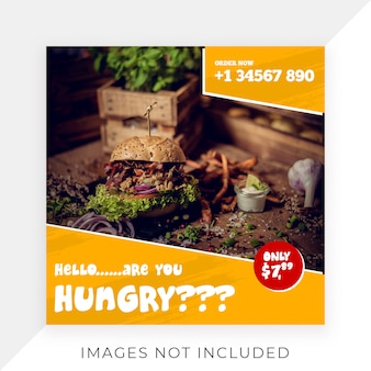 Comida instagram post template banner restaurante