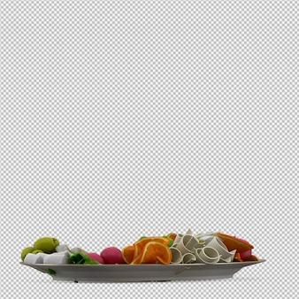 Comida isométrica na placa 3d render
