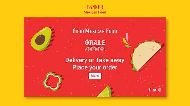Comida mexicana de modelo de banner