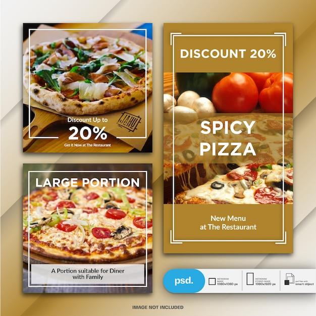 Comida negócio marketing instagram post e modelo de história ou banner quadrado