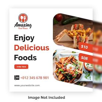 Comida social media post banner modelo para restaurante