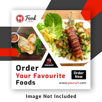 Comida social media post banner template psd