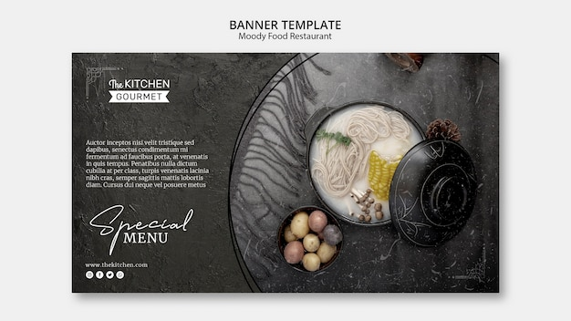 Comida temperamental restaurante banner modelo conceito mock-up