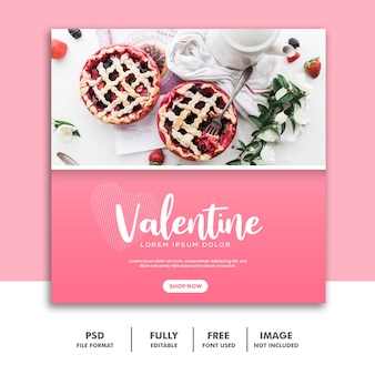 Comida valentine banner mídia social post instagram rosa