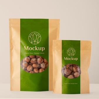 Comida vegana em embalagem mock-up