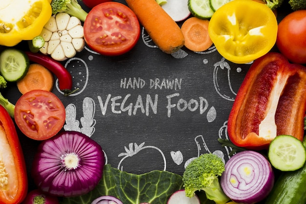 Comida vegetariana com legumes frescos