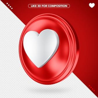 Como ângulo lateral vermelho 3d para composição