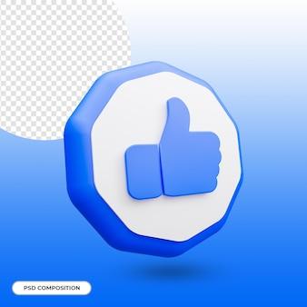 Como ícone, polegar para cima, ícone isolado em renderização 3d