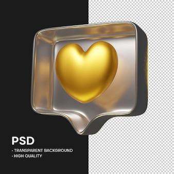 Como instagram ouro em renderização de prata metálica isolada