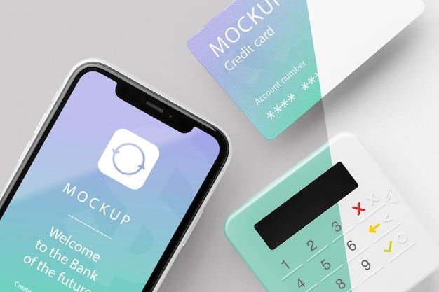 Composição com maquete de aplicativo de pagamento inteligente