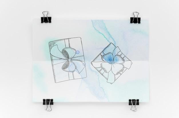 Composição com maquete de cartão no fundo branco